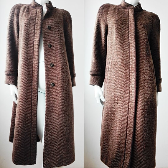 Wool Mohair Maxi Coat, Brown Vintage Coat, 80s Coa