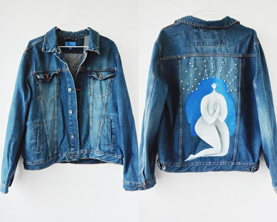 Pearl Beaded Jean Hand Painted Jacket, Medium Wash