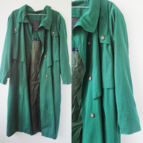 Green Trench Coat, 90s Lightweight Green Coat, Pad