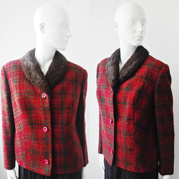 Red Plaid Wool Jacket with Fur Collar, Vintage Pla