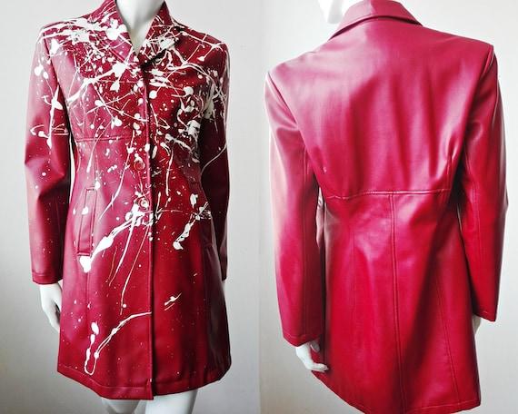 Vinyl Trench Raincoat, Splattered Womens Trench, C