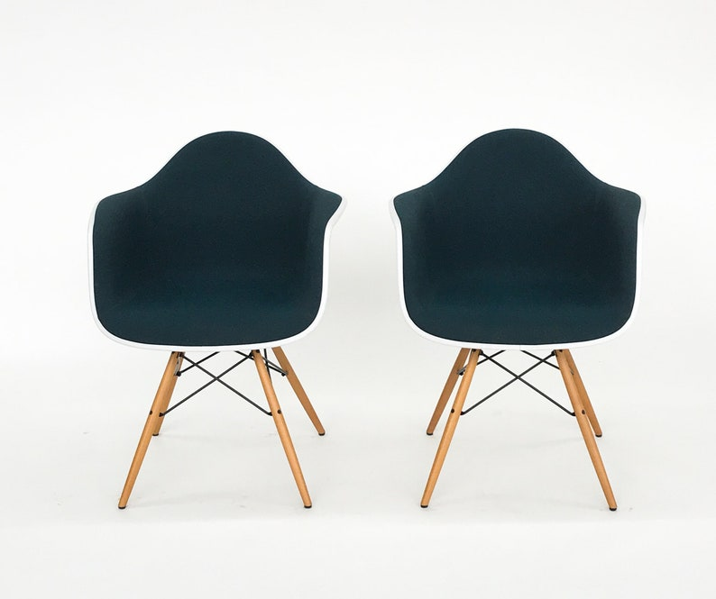 Peachy 2X Charles Eames Plastic Armchair Daw Fronts Upholstered Vitra Chair Chairs Petrol Pair Ocoug Best Dining Table And Chair Ideas Images Ocougorg