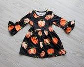 Girls Black Pumpkin Halloween Dress