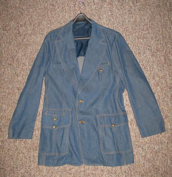 1970s Vintage Lee Denim Sport Coat, Size 44L