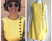 Vintage 60s Yellow Mod Mini Shift Dress with Button Detail Size XS