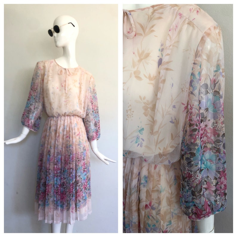 Size Small Vintage 80s Boho Pastel Watercolour Floral Chiffon 34 Sleeve Midi Tea Dress