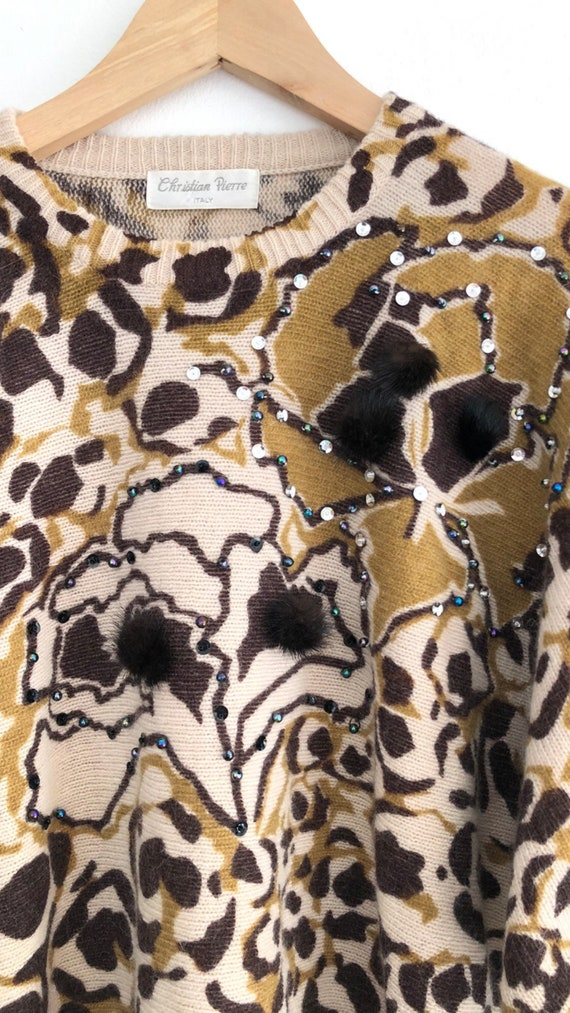 Vintage 80s Italian Animal Print Beaded Sequin Ba… - image 5