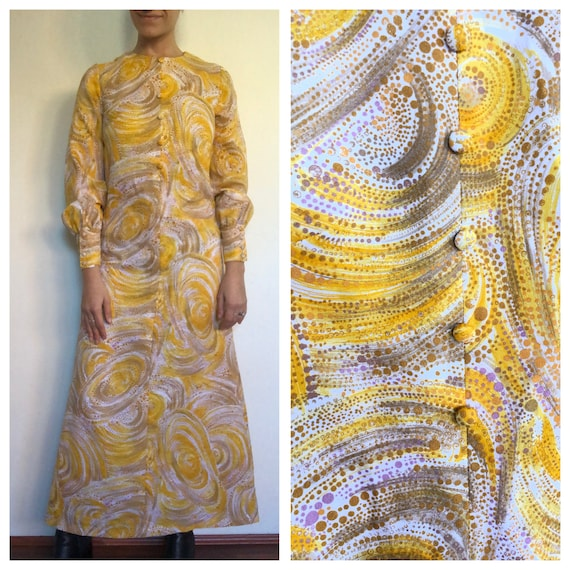 Vintage 60s Yellow Psychedelic Print Puff Long Sle