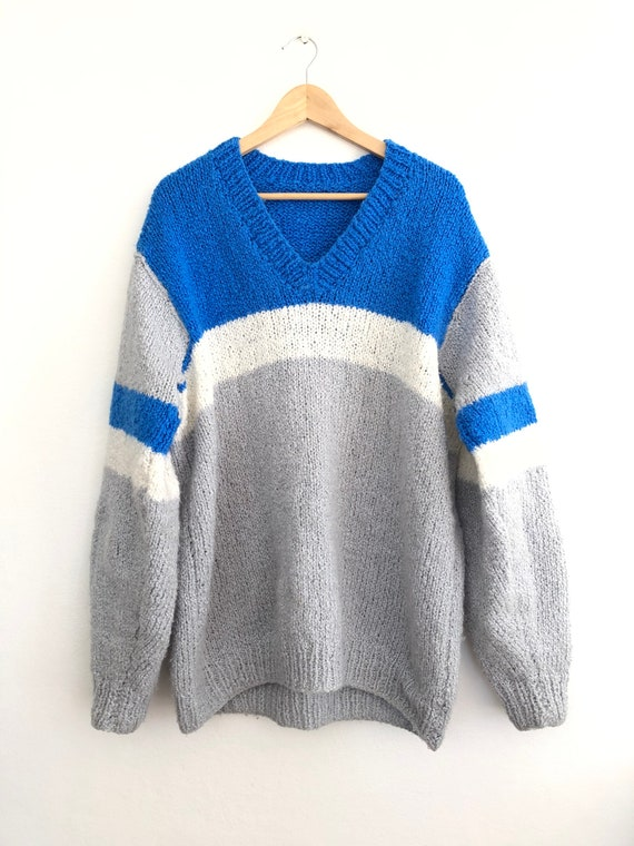 Vintage oversized chunky knit - Cobalt Blue Grey