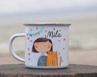 Tasse Becher Katze Kätzchen Papas Kleine Anglerin Kaffeetasse Geschenk Ts960 Tassen