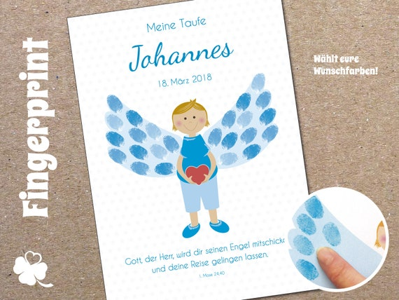 Fingerprint Gästeplakat Zur Taufe Engel Junge Personalisiert Mit Name Datum Taufspruch