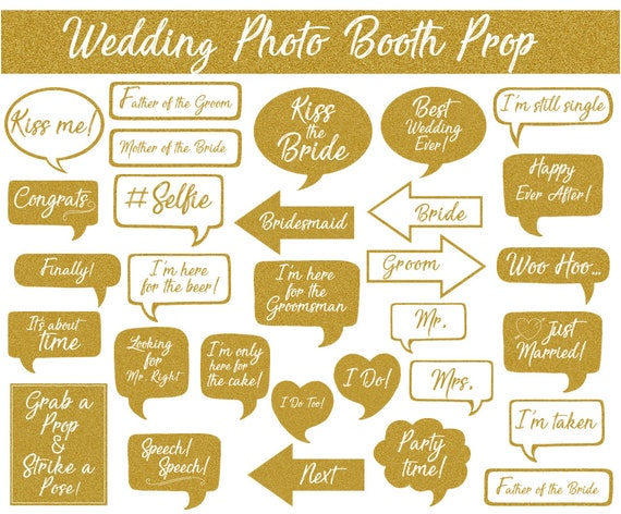 Wedding Photo Booth Prop Signs and Decorations Instant Download Gold Glitter Wedding Printables Printable Wedding Photobooth Props
