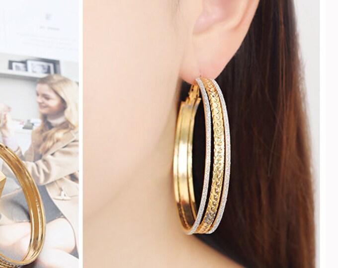 Hoop stud Gold earring Gold hoop earrings Large gold hoop Gold hoop stud Every day hoop Bold hoop earrings