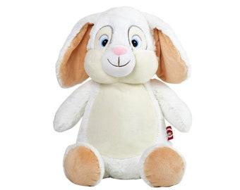 44b95ecc25 Personalisiertes Plüschtier, Kuscheltier Weißer Hase, Stofftier, Kaninchen,  Mit Namen Bestickt