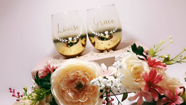 Personalised Wine Glass Custom Bridesmaid Glass Wedding Glasses Custom Gin Glass Custom Wine Glass Bridal Party Glasses Gin Glass