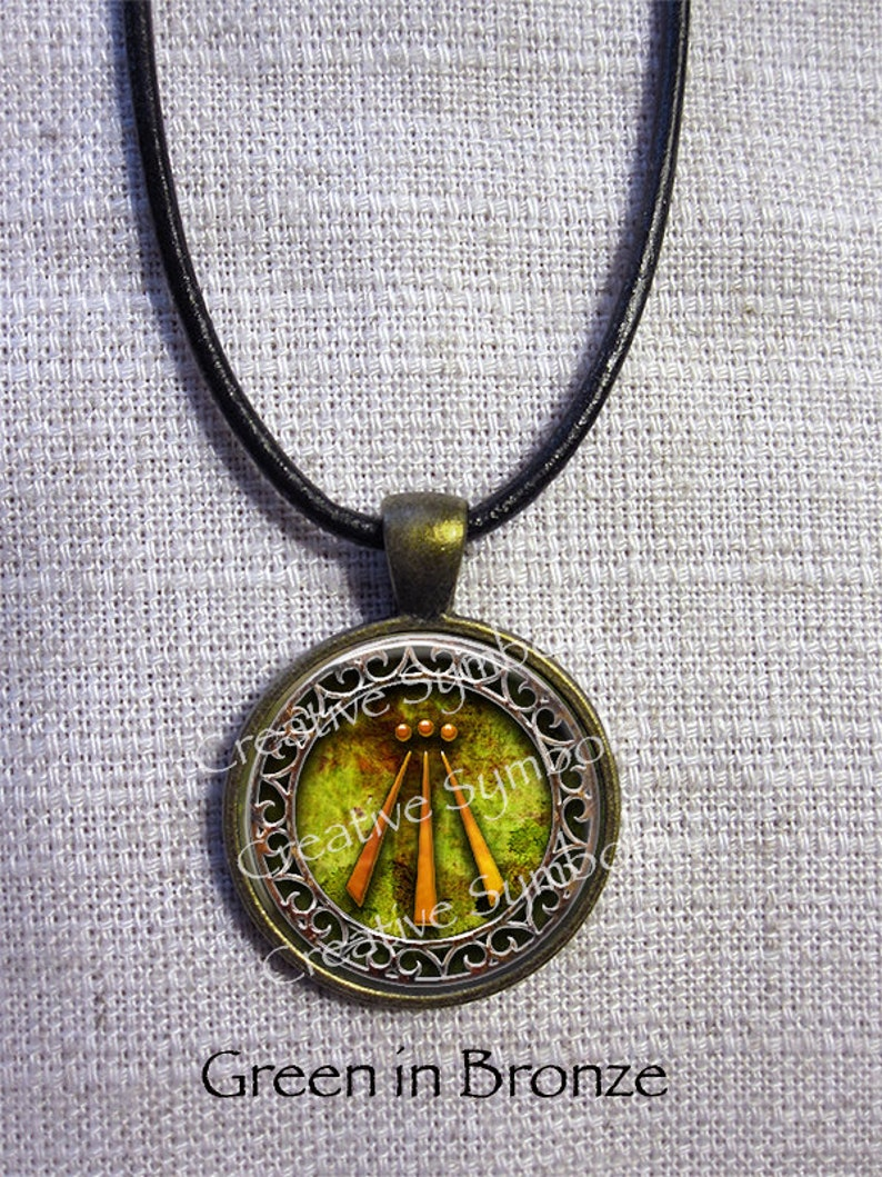 Awen Druid Pagan Pendant Necklace in three choices blue or green or Amber Colors