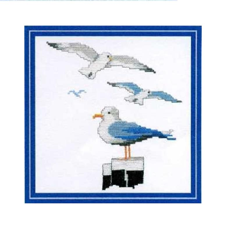 Landmark Seagulls Cross Stitch template Embroidery Template of image 0