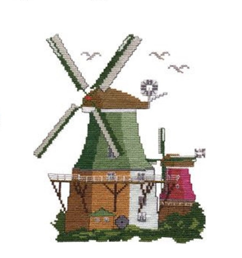 Cross stitch template embroidery symbol Greetsieler Twin mills image 0