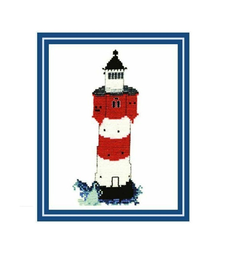 Lighthouse Red Sand Cross Stitch Template image 0