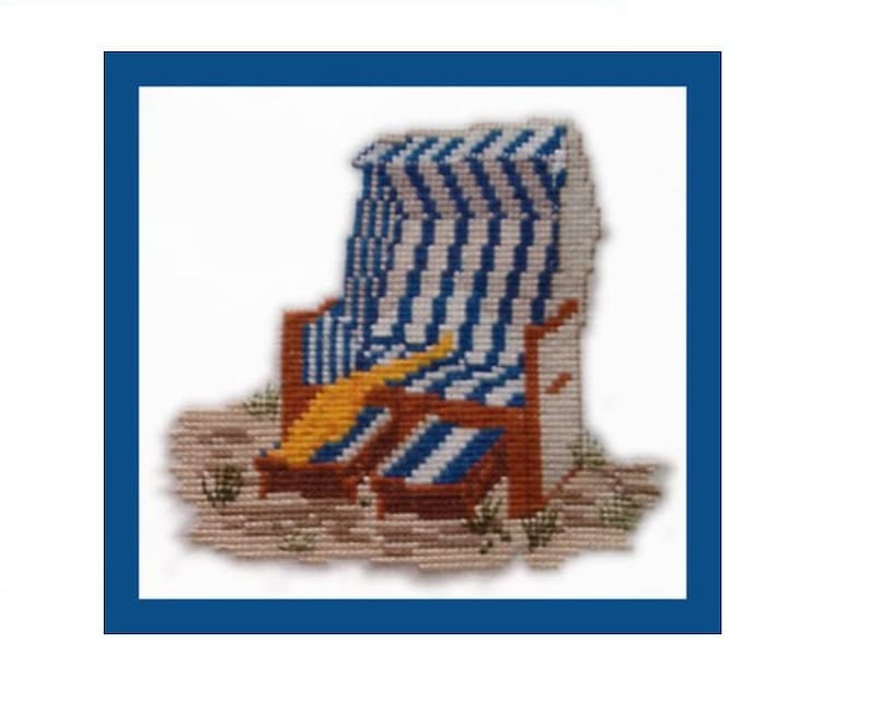 Cross stitch Template Embroidery template Beach Chair by image 0