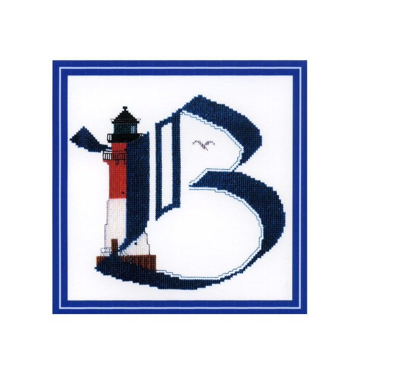 Lighthouse ABC Letter B Cross Stitch Template Embroidery Model image 0