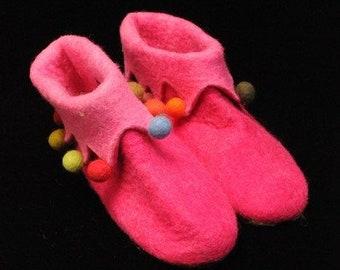 Hawanja 39 Felt Slippers Harlequin pink