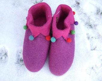 Hawanja 37 Felt Slippers Harlequin Lilac/Pink