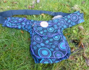 Hawanja belt bag black with purple and petrol patterned M or L