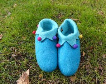 Hawanja 40 felt shoes Harlequin blue/turquoise