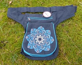 Hawanja belt bag black with blue patterned M or L