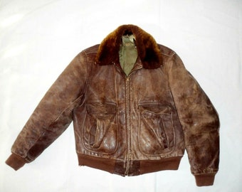 841aa019162 Vintage 1930s-40s G1 Leather Flight Bomber Jacket Size 38 - Conmar Bell  Zipper