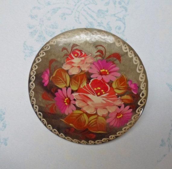 """Vintage Russian Handpainted Black Lacquer 2"""" Brooc"""