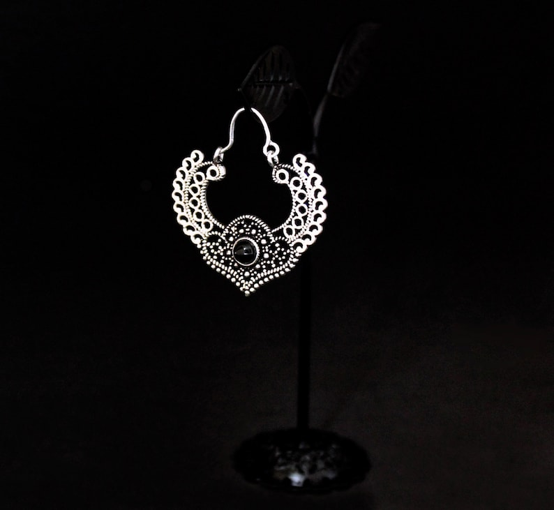 Traditional earring boho earring Black onyx earring Indian hoop earring,boho hoop earrings Silver hoop earring silver hoop earrings