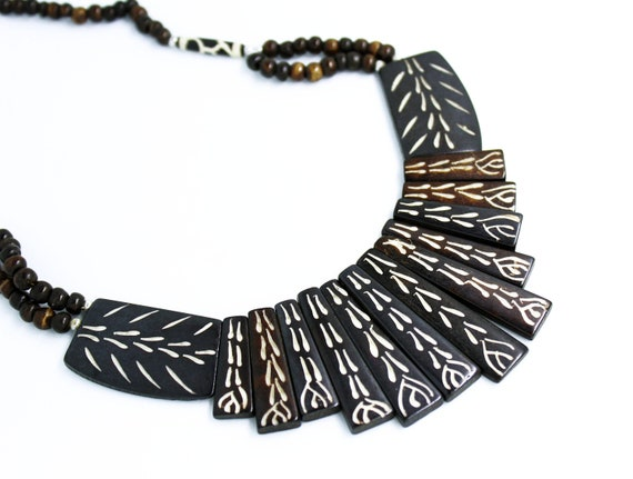 Tribal African Gypsy Faux Bone Carved Necklace Boho Chic Etsy