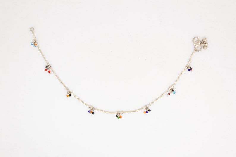 Summer hippie jewellery Indian anklet payal with colourful glass beads Ankle bracelet Boho chic Silver Gypsy Traditional foot jewellery