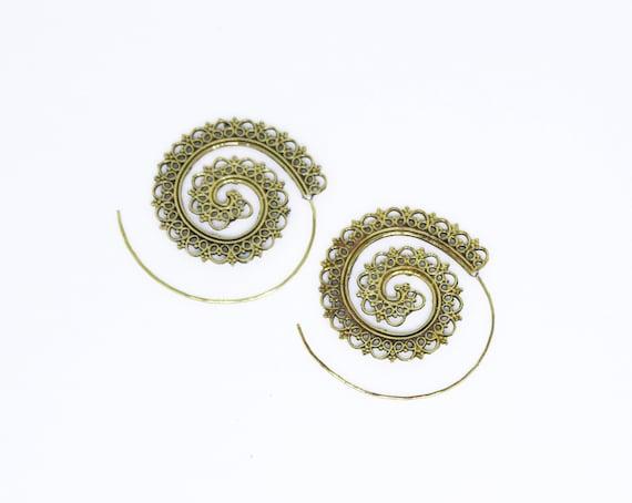 Spiral oxidised brass earrings