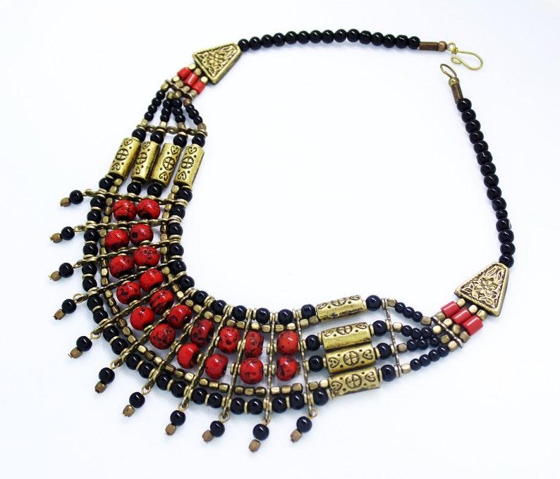 Boho Chunky Multistrand Statement Fashion Coral Bead Necklace