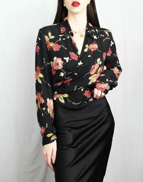 Floral Silk Wrap Blouse, Silk Blouse for Women, Ha