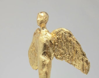 Angel over Berlin gypsum angel, gilded on small base (delivery time approx. 1 week)