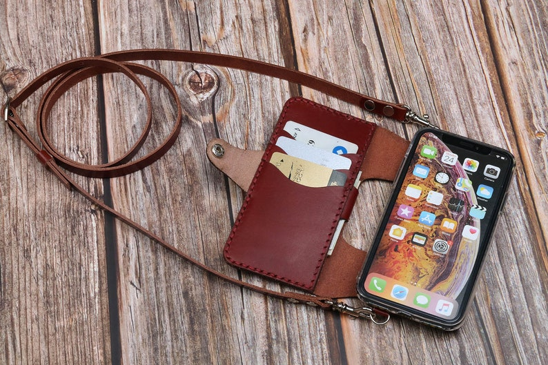 best sneakers 657ef f2870 Genuine Tooled Leather iPhone x / xs max / xr / 8 / 8 Plus / iPhone 7 / 7  Plus / wallet case Customized name tags Crossbody bag 112 09