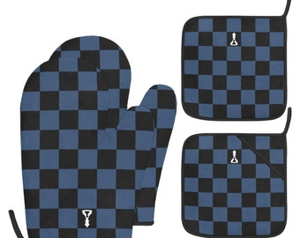 ID 7879 Checkered Heart Oven Mitt Patch Cook Bake Embroidered Iron On Applique