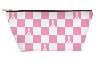 Buenos New Chess Accessory Pouch Black And Light Blue Board Zippered T-Bottom Small Or Large