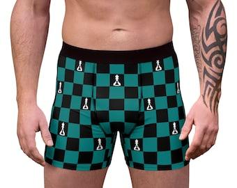 chess print fun underwear cotton boxer shorts men briefs funny boyfriend gift undies star sign zodiak leo printed multicolor under pants BLT