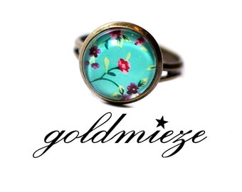 Ring 12 mm delicate flowers blue