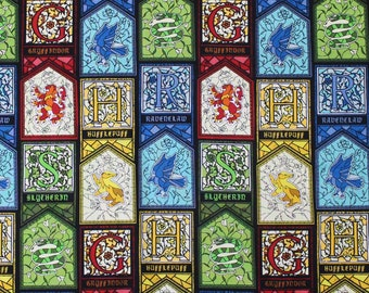 1/2 Yard Cotton Fabric Harry Potter Stained Glass Houses Character Gryffindor Slytherin Hufflepuff Ravenclaw