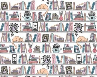Literary Library Books Book Smart Nerdy Geek School Educational Cotton Fabric Bookshelf Reading