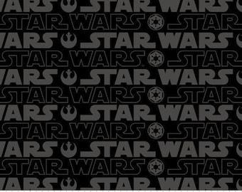 1 Yard Precuts Star Wars Cartoon Cotton Characters Fabric Black and Grey Gray Out of Print