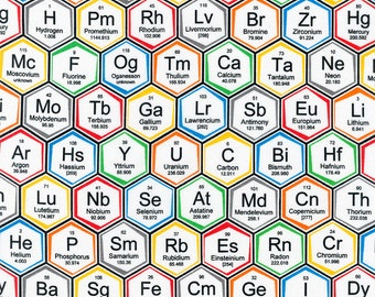 Periodic Table Elements Hexagons Scientist Science Chemistry Cotton Fabric *Choose Size from Drop Down Menu*