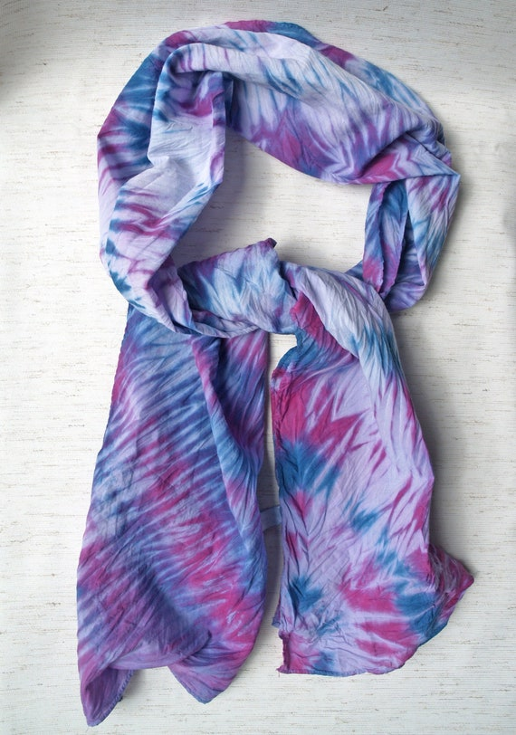 Hand Dyed Scarf, Stripes Scarf, Shibori Scarf, Blue Purple Scarf, Cotton  Scarf Girls Women, Unique Cotton Gifts, Lightweight Cotton Scarf