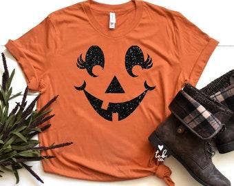 3b1fb3bb Glitter Girly Jack-O-Lantern Shirt - Cute Halloween Shirt - Women's  Halloween Shirt